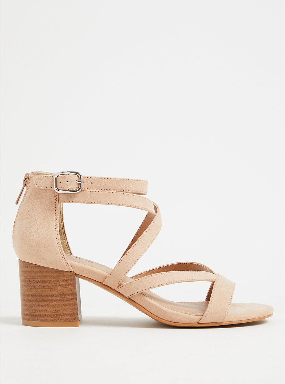 Plus Size Beige Faux Suede Strappy Block Heel Sandal (WW), , hi-res
