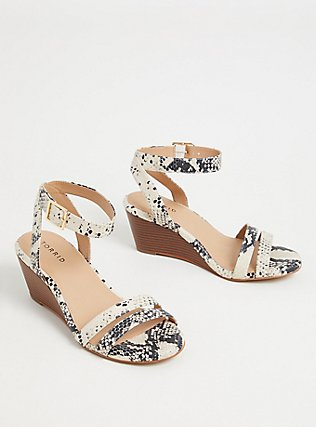 Snakeskin Print Faux Leather Midi Wedge (WW), ANIMAL, alternate