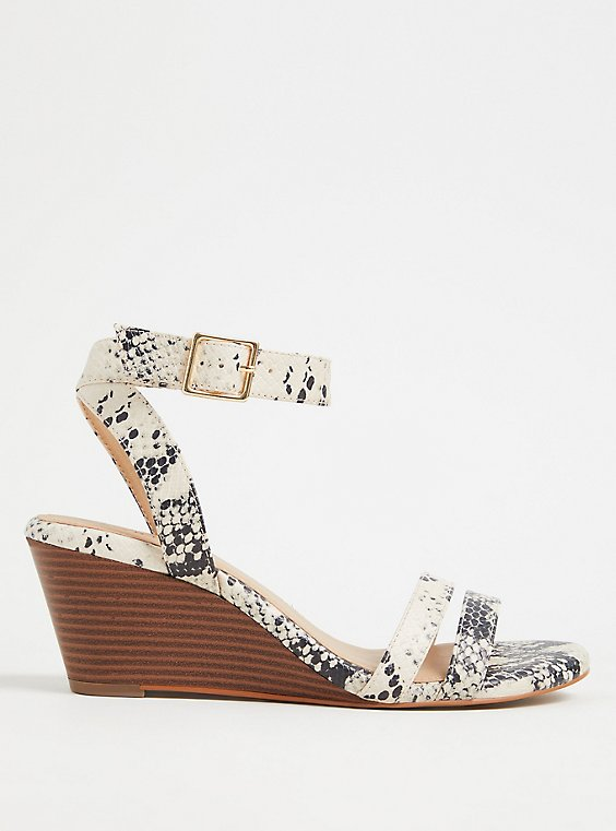 Plus Size Snakeskin Print Faux Leather Midi Wedge (WW), , hi-res