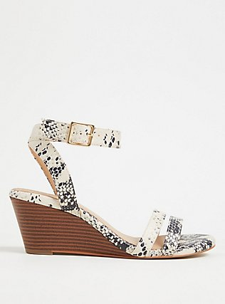 Snakeskin Print Faux Leather Midi Wedge (WW), ANIMAL, hi-res