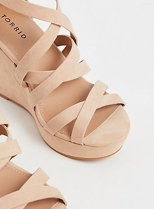 Nude Faux Suede Strappy Ankle Wrap Wedge (Wide Width), NUDE, alternate
