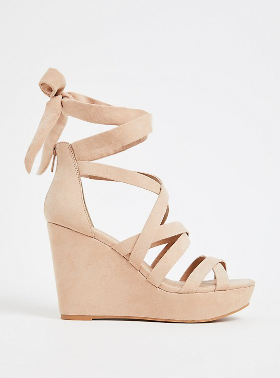 Plus Size Nude Faux Suede Strappy Ankle Wrap Wedge (Wide Width), , hi-res