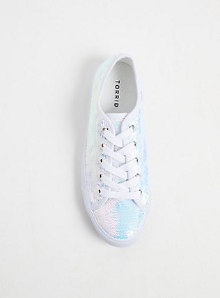 Plus Size White Iridescent Sequin Lace-Up Sneaker (WW), WHITE, alternate