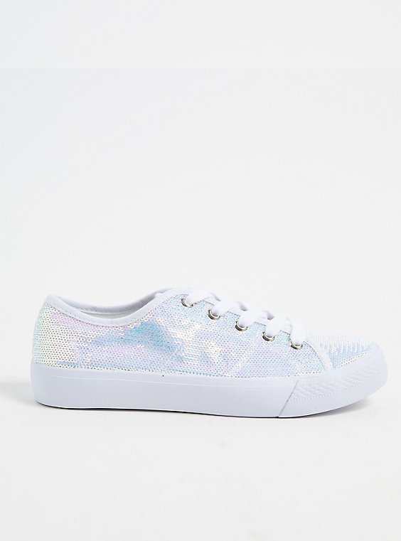 Plus Size White Iridescent Sequin Lace-Up Sneaker (WW), , hi-res