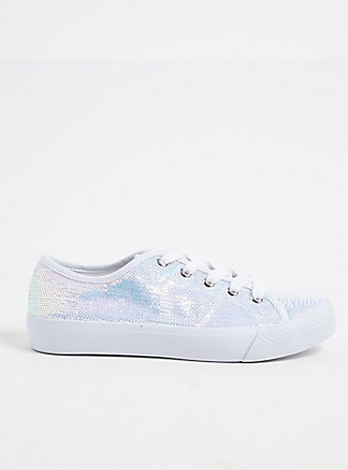 Plus Size White Iridescent Sequin Lace-Up Sneaker (WW), WHITE, hi-res