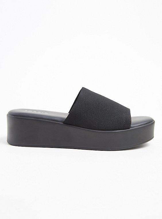 Black Stretch Platform Slide (WW), BLACK, hi-res