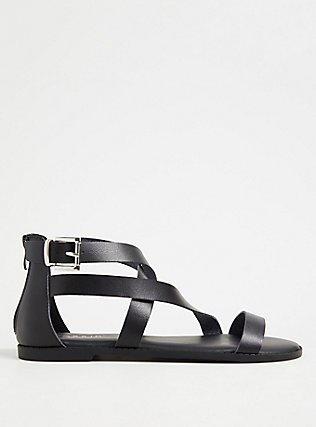 Plus Size Black Faux Leather Asymmetric Gladiator Sandal (WW), BLACK, alternate