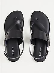 Black Faux Leather Crisscross Toe Ring Sandal (WW), BLACK, alternate