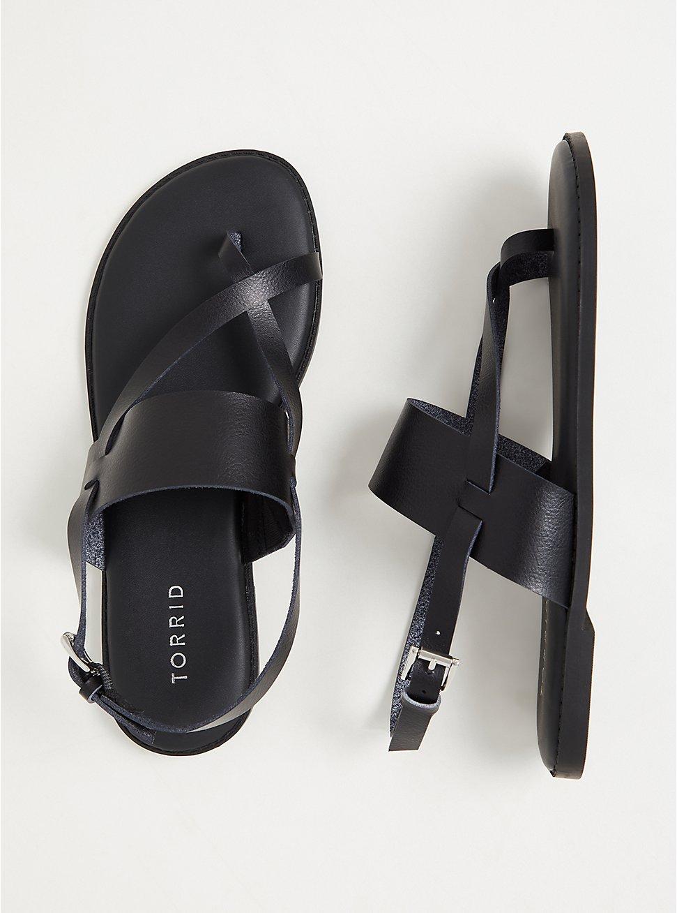 Black Faux Leather Crisscross Toe Ring Sandal (WW), BLACK, hi-res