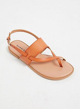 Brown Faux Leather Crisscross Toe Ring Sandal (WW), TAN/BEIGE, alternate