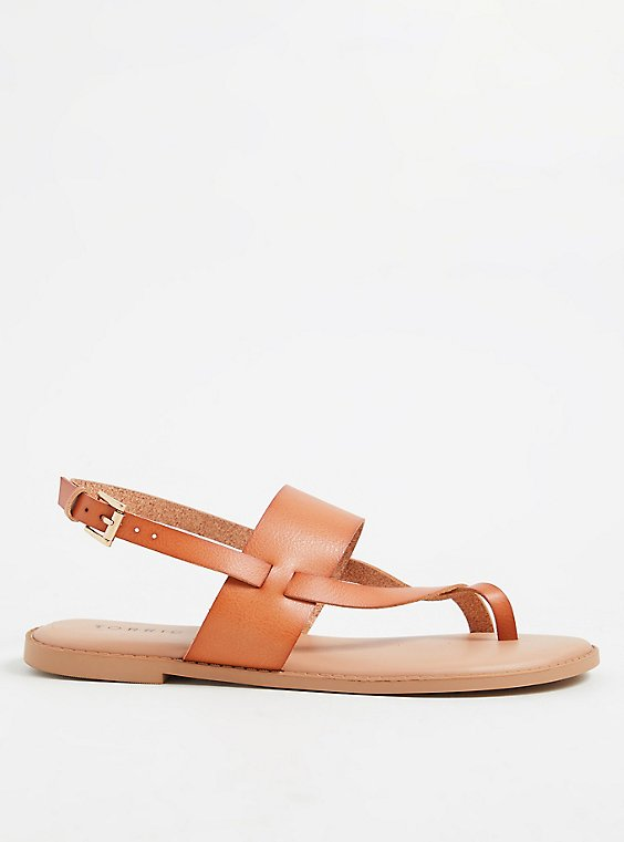 Brown Faux Leather Crisscross Toe Ring Sandal (WW), , hi-res