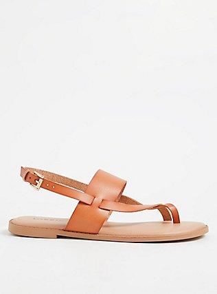 Brown Faux Leather Crisscross Toe Ring Sandal (WW), TAN/BEIGE, hi-res