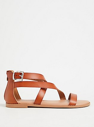 Cognac Faux Leather Asymmetric Gladiator Sandal (WW), COGNAC, alternate