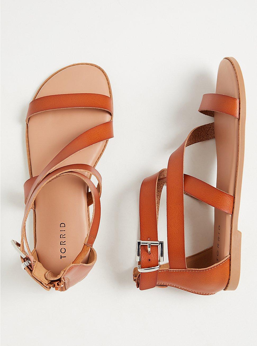 Plus Size Cognac Faux Leather Asymmetric Gladiator Sandal (WW), COGNAC, hi-res