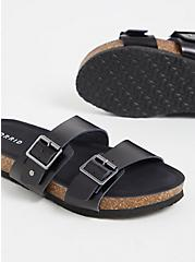 Plus Size Black Textured Faux Leather Dual Strap Slide (WW), BLACK, alternate