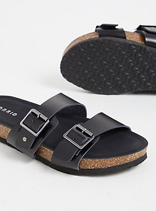 Black Textured Faux Leather Dual Strap Slide (WW), BLACK, alternate
