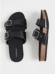 Plus Size Black Textured Faux Leather Dual Strap Slide (WW), BLACK, hi-res