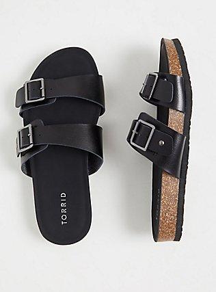 Black Textured Faux Leather Dual Strap Slide (WW), BLACK, hi-res