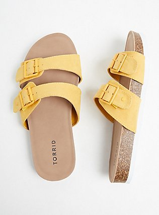 Plus Size Mustard Yellow Faux Suede Dual Strap Slide (WW), YELLOW, alternate