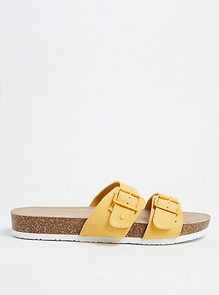 Plus Size Mustard Yellow Faux Suede Dual Strap Slide (WW), YELLOW, hi-res