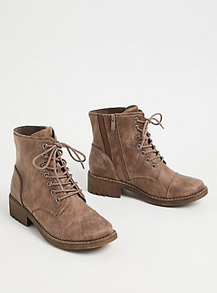 Taupe Textured Faux Leather Combat Boot (WW) , TAN/BEIGE, alternate