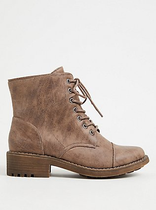 Taupe Textured Faux Leather Combat Boot (WW) , TAN/BEIGE, hi-res