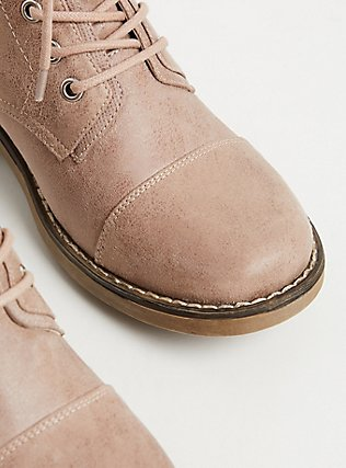 Blush Pink Brushed Faux Leather Combat Boot (WW), BLUSH, alternate