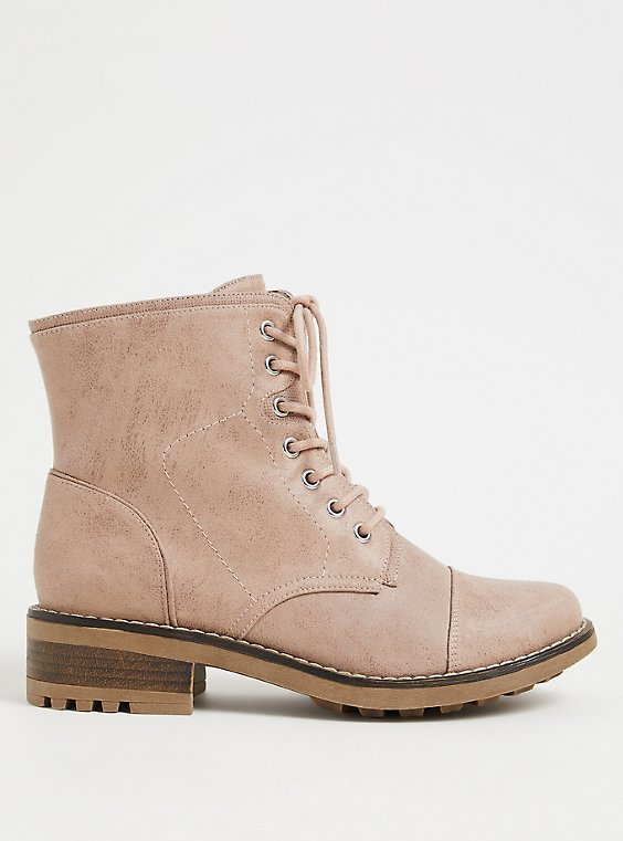Blush Pink Brushed Faux Leather Combat Boot (WW), , hi-res