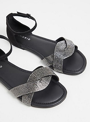 Black Faux Leather Rhinestone Strap Sandal (WW), BLACK, alternate
