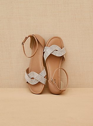 Nude Faux Leather Rhinestone Strap Sandal (WW), NUDE, alternate