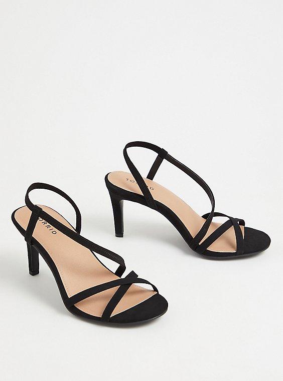 Black Faux Suede Sling Back Stiletto Heel (WW), BLACK, ls