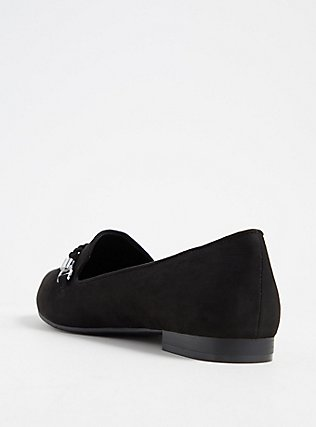 Black Faux Suede Braided Loafer (WW), BLACK, alternate