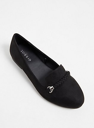 Black Faux Suede Braided Loafer (WW), BLACK, alternate