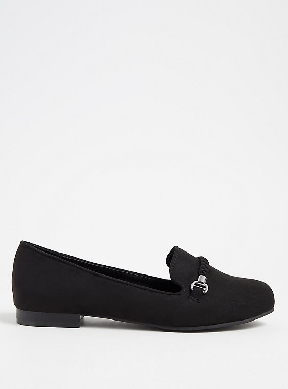 Black Faux Suede Braided Loafer (WW), , hi-res
