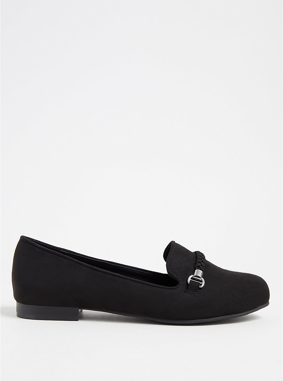 Black Faux Suede Braided Loafer (WW), BLACK, hi-res