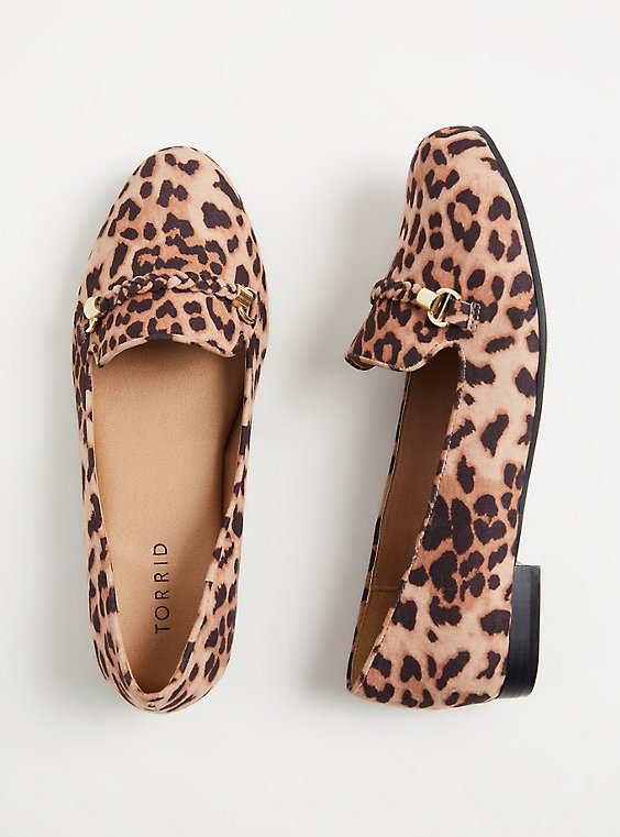 Leopard Faux Suede Braided Loafer (WW), , hi-res