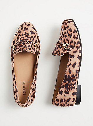 Leopard Faux Suede Braided Loafer (WW), ANIMAL, hi-res