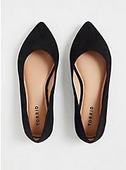 Black Faux Suede Point Toe Flats (WW), BLACK, alternate