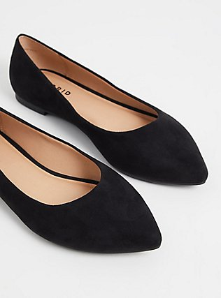 Black Faux Suede Point Toe Flats (WW), BLACK, alternate