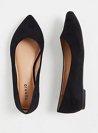 Black Faux Suede Point Toe Flats (WW), BLACK, hi-res