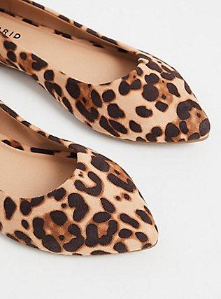 Plus Size Leopard Faux Suede Pointed Toe Flat (WW), ANIMAL, alternate