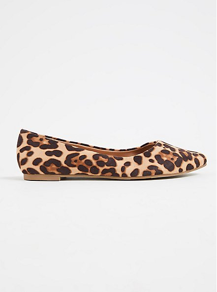 Leopard Faux Suede Pointed Toe Flat (WW), ANIMAL, alternate