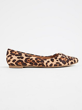 Leopard Faux Suede Pointed Toe Flat (WW), ANIMAL, alternate