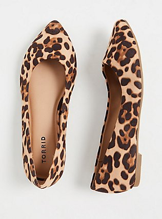 Plus Size Leopard Faux Suede Pointed Toe Flat (WW), ANIMAL, hi-res