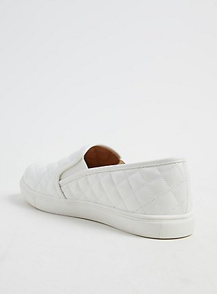 White Quilted Faux Leather Sneaker (WW), WHITE, alternate