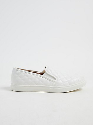 Plus Size White Quilted Faux Leather Sneaker (WW), WHITE, hi-res