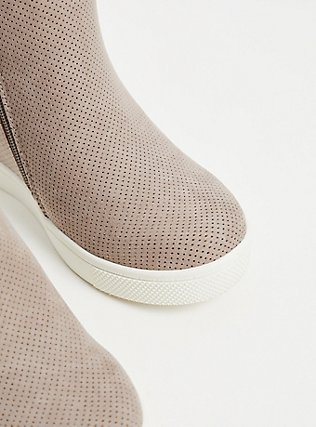 Plus Size Grey Faux Suede Perforated Wedge Sneaker (WW), GREY, alternate