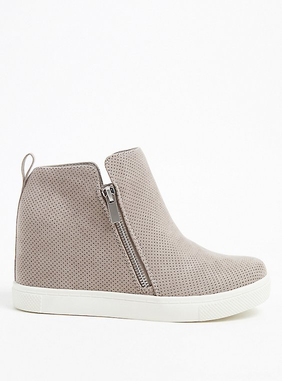 Grey Faux Suede Perforated Wedge Sneaker (WW), , hi-res