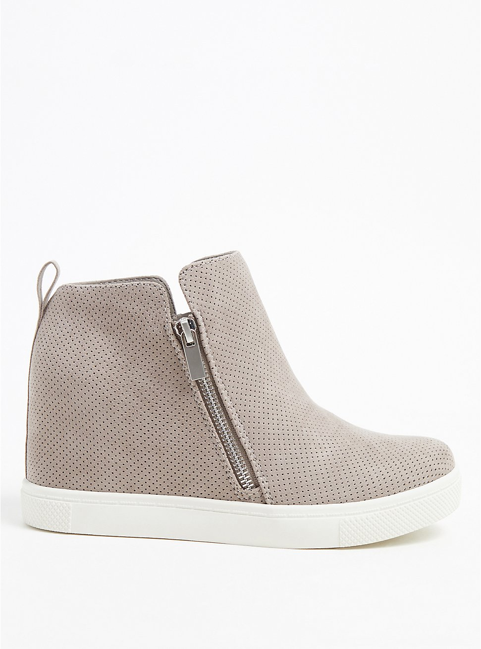 Grey Faux Suede Perforated Wedge Sneaker (WW), GREY, hi-res