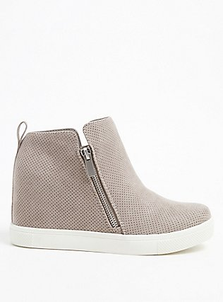 Plus Size Grey Faux Suede Perforated Wedge Sneaker (WW), GREY, hi-res